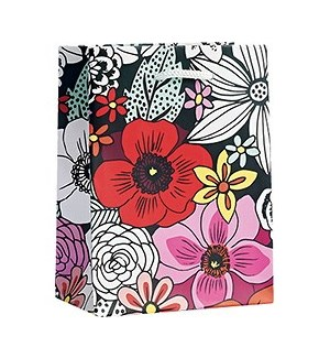 Blk/Wht Sketch Floral  Small Bag