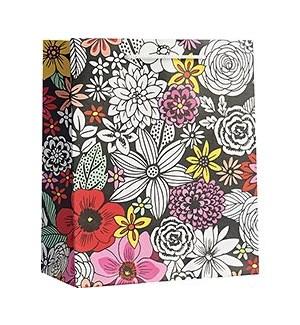 Blk/Wht Sketch Floral Med Bag