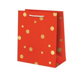 Gold Foil Dots on Red Medium Bag