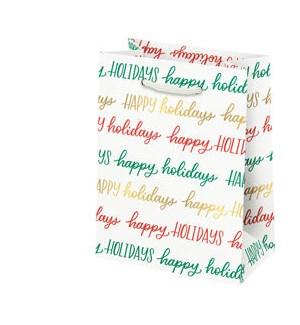 Happy Holidays Script Foil Small Bag