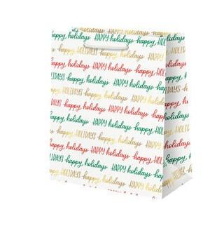 Happy Holidays Script Foil Medium Bag
