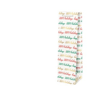 Happy Holidays Script Foil Wine Bag