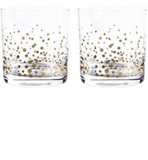 Gold Confetti Tumblers S/2