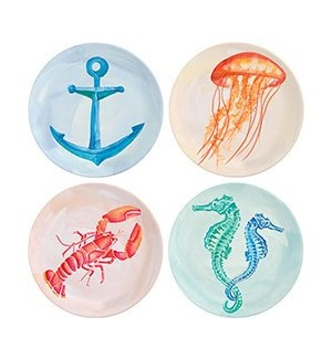 Watercolor Sealife Plates S/4