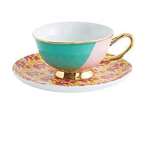 Teal Pink Teacup & Floral Ditsy Saucer