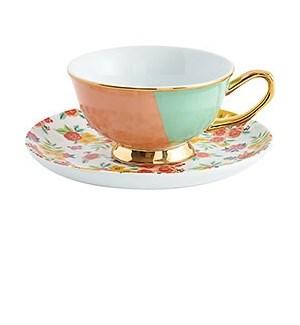 Mint Coral Teacup & Floral Leaves Saucer
