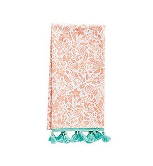 Coral Floral Tea Towel S/2