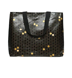 Black Honeycomb Coated Canvas Tote