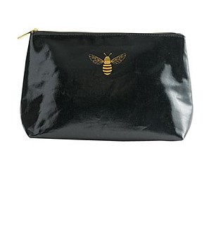 Black Bee Coated Canvas Pouch