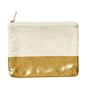 Shiny Gold Colorblock Pouch - WNP
