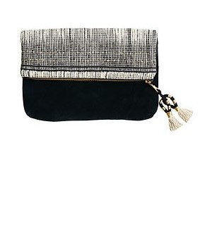 Black and White Foldover Clutch