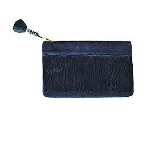 Navy Fringe Clutch
