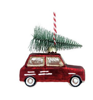 Red Car with Tree Ornament