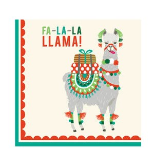 Fa-la-la Llama Cocktail Napkin