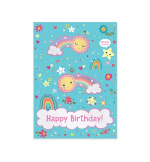 Rainbow With Stickers Glitter Card