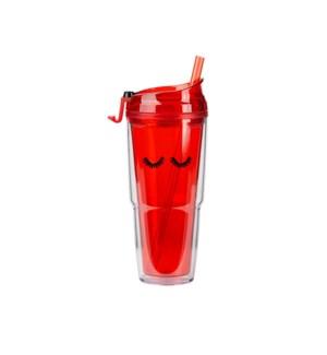 Eyelashes Red Plastic Tumbler