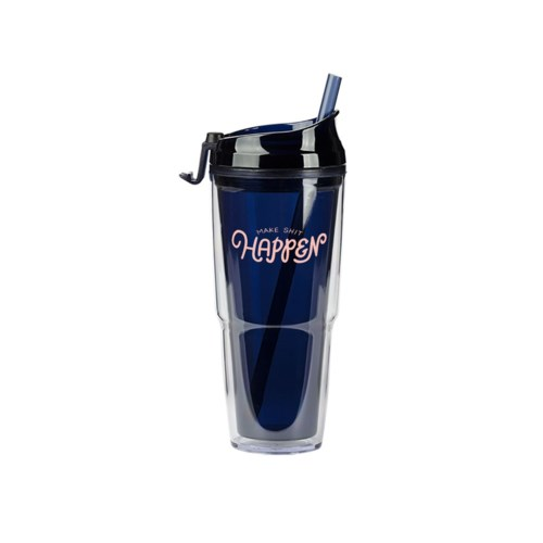 Make Shit Happen Navy Plastic Tumbler