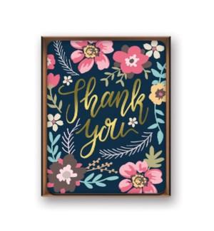 Artisan Notecards  Foiled Midnight Garden—Thank You