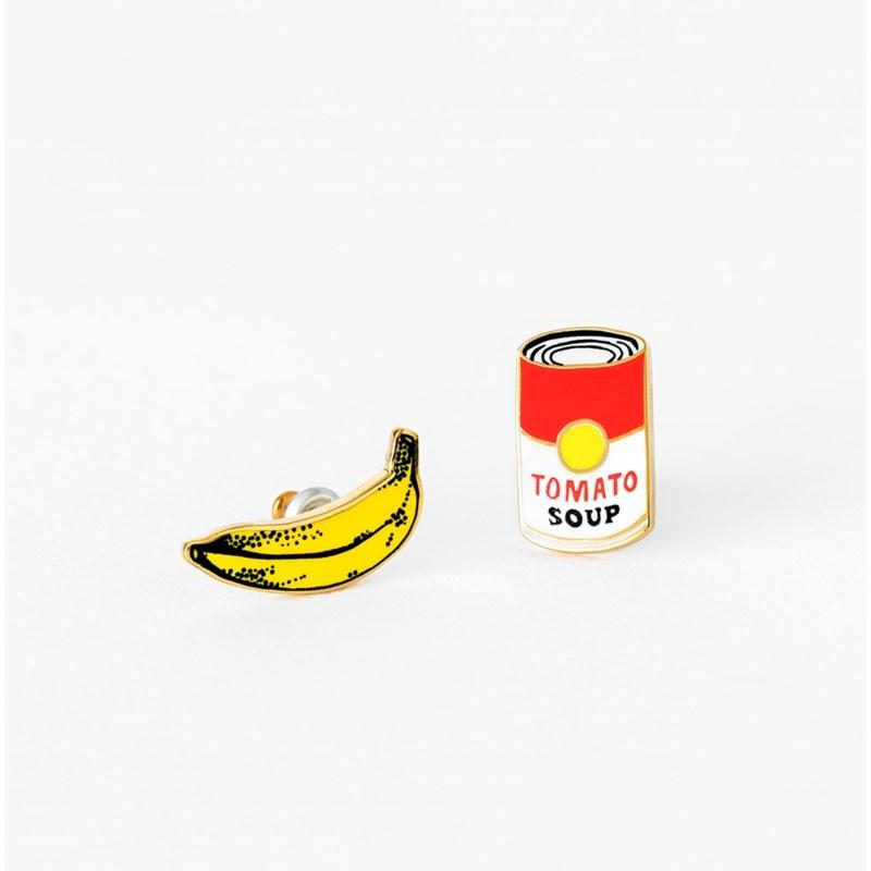 Pop Art Soup & Banana Earrings
