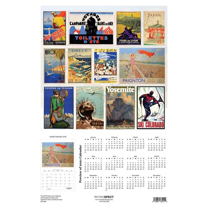 Travel Posters  WallCalendar  12.5x19|Retrospect