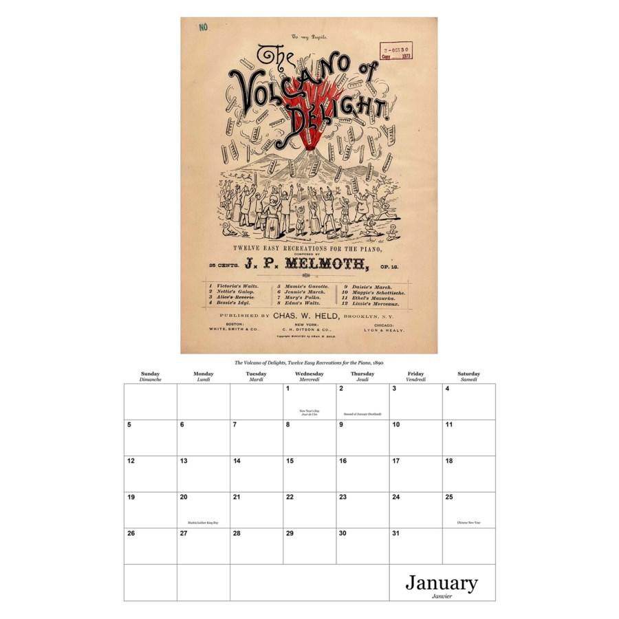 Vintage Sheet Music Calendar 12.5x19|Retrospect