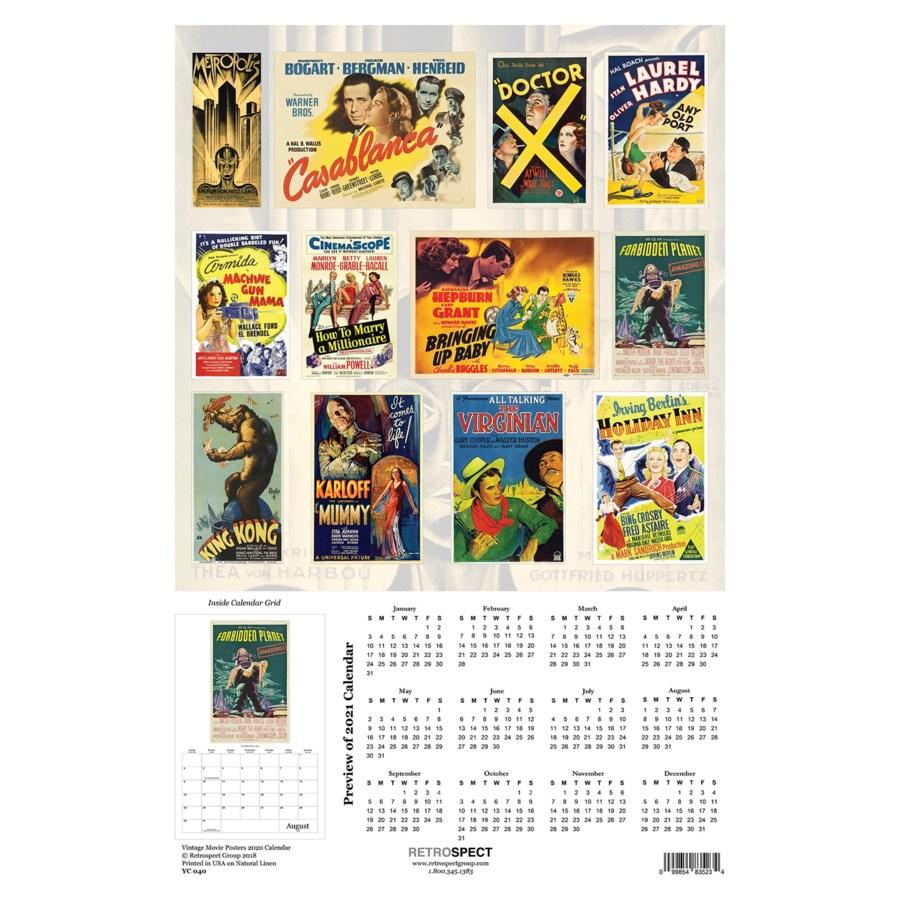 Vintage Movie Posters Calendar 12.5x19|Retrospect