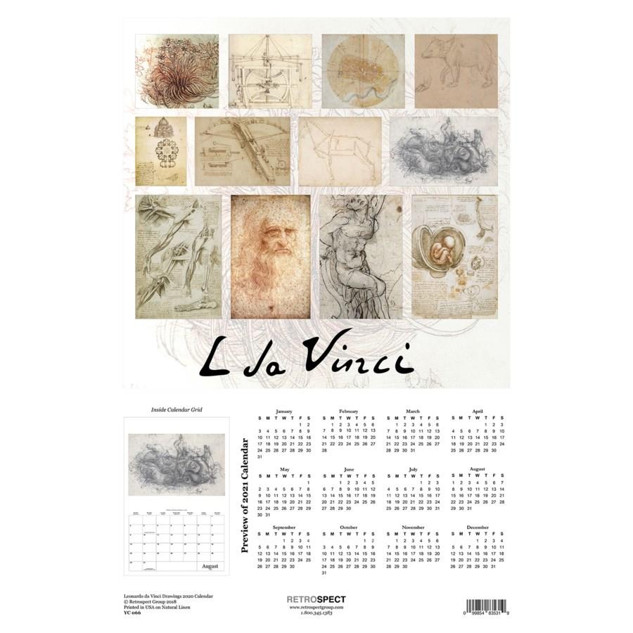 Leonardo de Vinci Drawings Calender 12.5x19|Retrospect