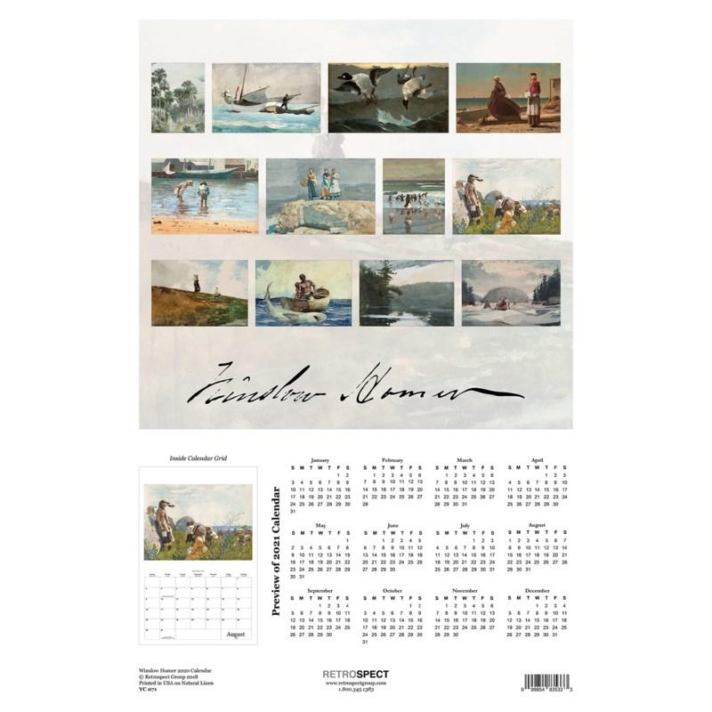 Winslow Homer Calender  12.5x19|Retrospect