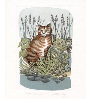 Ginger Cat & Fern 5.5x6.75|Art Angels