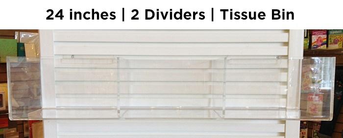 "24"" tissue bin w 2 dividers, holds 12 units|Acclaim Design"