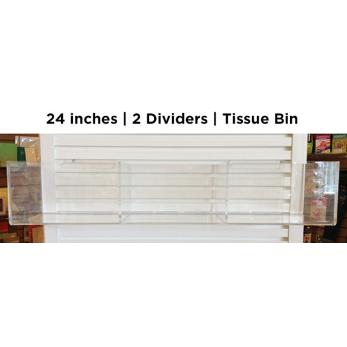 "24"" tissue bin w 2 dividers, holds 12 units