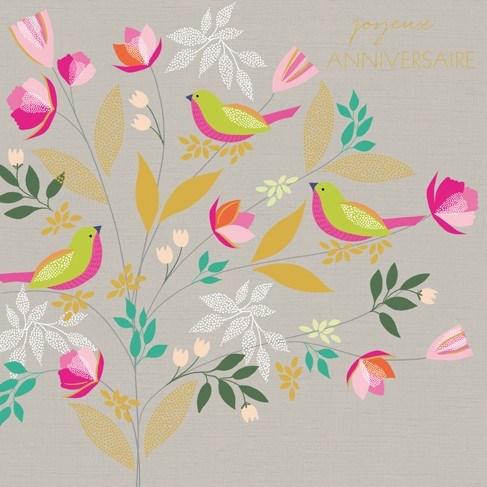 Joyeux Anniversaire Birds 5.5x5.5|Z