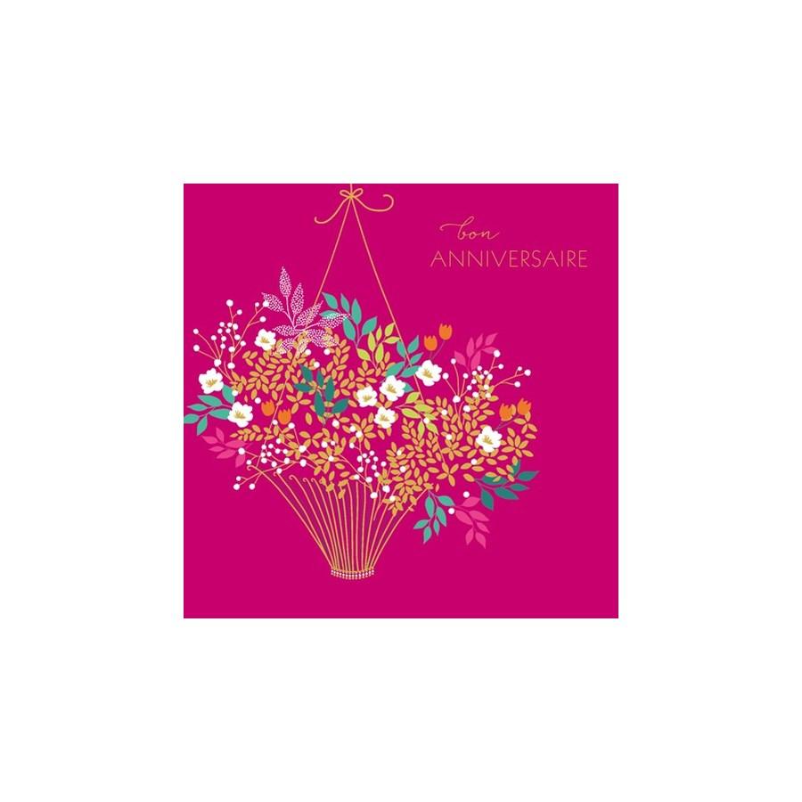 Bon Anniv Flower Basket 5.5x5.5|Z