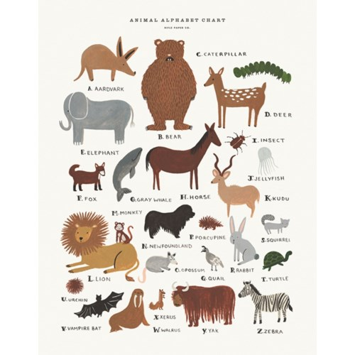 Animal Alphabet Chart Print (11x14)