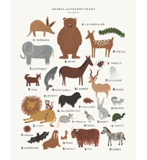 Animal Alphabet Chart Print (16x20)