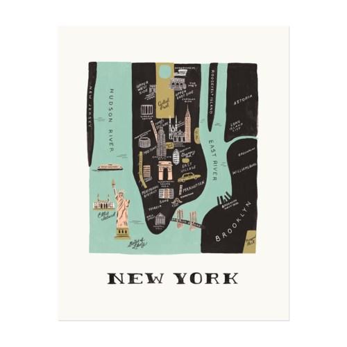Manhattan Map Print (16x20)