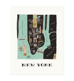 New York Map Print (8x10)