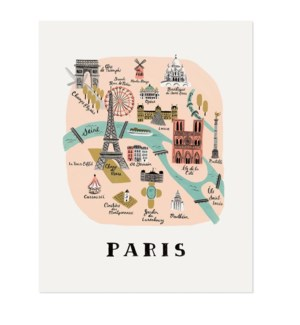 Paris Map Print (11x14)