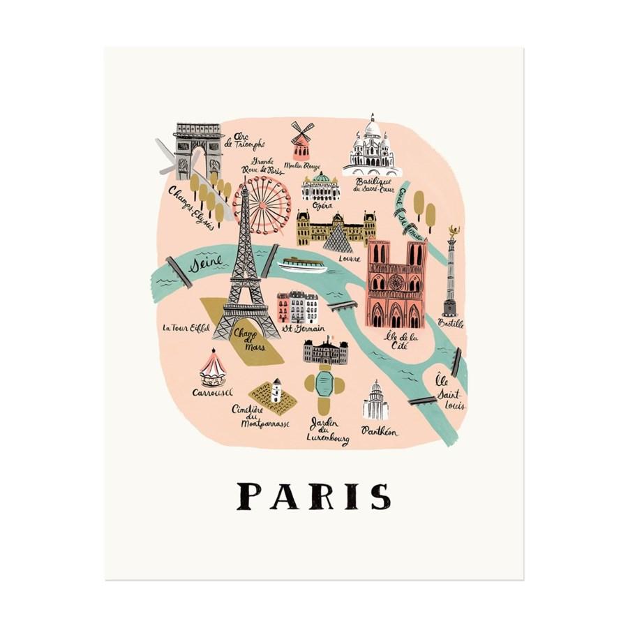 Paris Map Print (16x20)