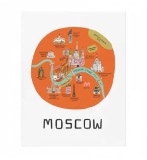 Moscow Bon Voyage Art Print (8x10)