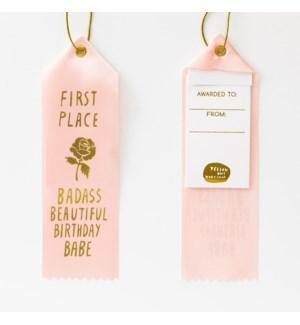 Award Ribbon Note - Badass Beautiful Bday Babe