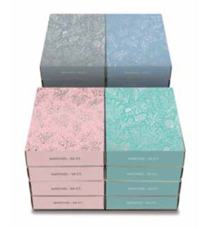 Matches - Silver Floral Vines Assort POS 16