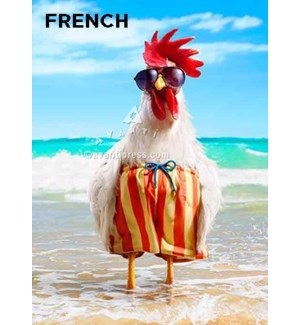 French Hen Wears Swimsuit French  5x7 |Z