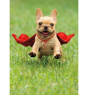 Frenchie Jumping Wearing Red Cape 5x7|Z