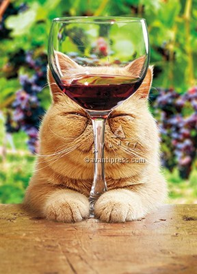 Cat With Glass Of Red Wine 5x7|Z