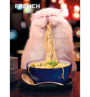 French Cat Eating Steamy Noodles|Z