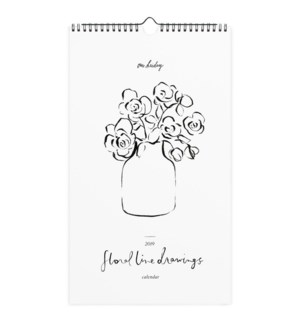 Floral Line Drawings Wall Calendar