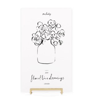 Floral Line Drawings Desk Calendar