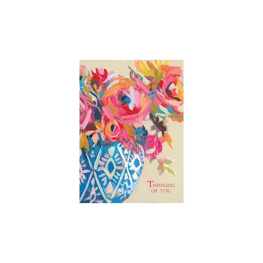 Bright Flowers In Blue Vase 5x7 Calypso
