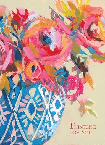 Bright Flowers In Blue Vase 5x7|Calypso